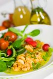Roasted Prawns with Salad of Corn Salad,radish,Che Royalty Free Stock Photos