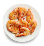 Roasted prawns on white plate Royalty Free Stock Photos