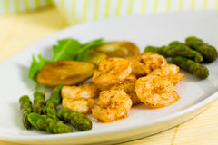 Roasted Prawns With Green Asparagus And Potato Royalty Free Stock Images