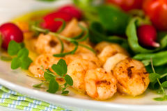 Roasted Prawns With Salad Of Corn Salad,radish,Che Royalty Free Stock Images