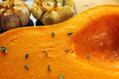 Roasted pumpkin and garlic. Royalty Free Stock Photos