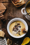 Roasted Pumpkin Soup with Wild Mushrooms, Garlic, Rosemary, and Stock Images