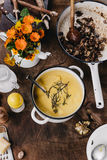 Roasted Pumpkin Soup with Wild Mushrooms Royalty Free Stock Photo