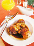 Roasted quail carcasses Royalty Free Stock Images