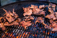 Roasted quail on the grill grate. Appetizing roasted partridge meat over an open fire on live coals stock image