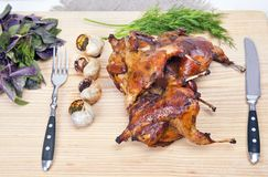 Roasted Quail Stock Image