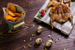 Roasted quail. Royalty Free Stock Photos