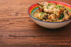 Roasted rabbit with herbs Stock Photo
