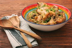 Roasted rabbit with herbs Stock Photography