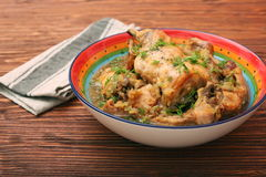 Roasted rabbit with herbs Stock Images