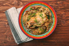 Roasted rabbit with herbs Royalty Free Stock Photos
