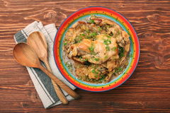 Roasted rabbit with herbs Stock Image