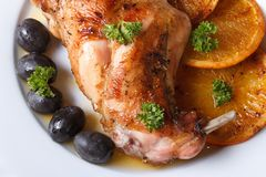 Roasted rabbit leg with oranges macro. horizontal top view Royalty Free Stock Images