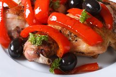 Roasted rabbit meat with peppers, olives and fresh herbs macro. Roasted rabbit meat with peppers, olives and fresh herbs on a plate macro. horizontal Royalty Free Stock Photography