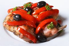 Roasted rabbit meat with peppers, olives and fresh herbs. On a plate close-up. horizontal Stock Photos