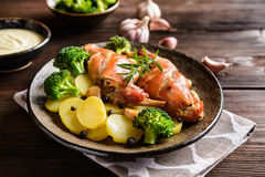 Roasted rabbit meat with potato and broccoli Royalty Free Stock Image