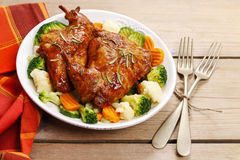 Roasted rabbit with vegetables Royalty Free Stock Photos