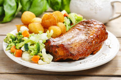 Roasted rabbit with vegetables Royalty Free Stock Image