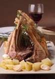 Roasted rack of lamb. Plate of roasted rack of lamb stock photo