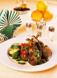Roasted rack of lamb on the table Royalty Free Stock Photo