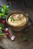 Roasted Radishes Hummus with Fresh Radishes. Roasted Radishes Hummus. Vegetarian Food Royalty Free Stock Photo