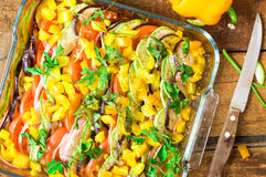 Roasted ratatouille dish top view Stock Image