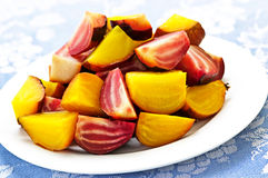 Roasted red and golden beets Royalty Free Stock Photo