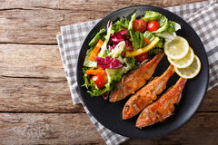 Roasted red mullet with fresh vegetables and lemon close-up. hor Stock Photography