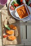 Roasted red pepper hummus Stock Photos