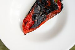 Roasted red pepper salad detail. With olive oil Royalty Free Stock Photos
