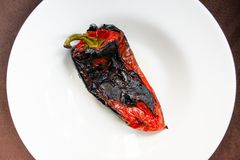 Roasted red pepper salad detail. With olive oil Royalty Free Stock Photo