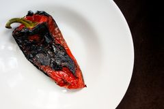 Roasted red pepper salad detail. With olive oil Royalty Free Stock Image
