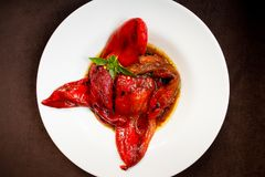 Roasted red pepper salad detail. With olive oil Stock Photography