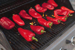 Roasted red peppers. On the grill Royalty Free Stock Images