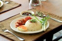 Roasted red pork rice Royalty Free Stock Photo