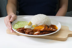 Roasted red pork with rice Stock Photos