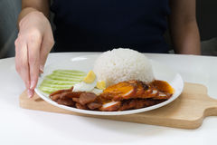 Roasted red pork with rice Royalty Free Stock Photo