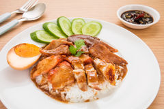 Roasted red pork with sweet gravy and rice Royalty Free Stock Photography