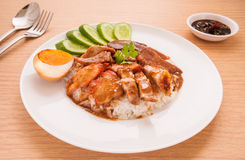 Roasted red pork with sweet gravy and rice Stock Image