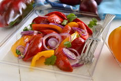 Roasted red and yellow bell pepper, purple onion Royalty Free Stock Images
