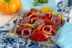 Roasted red and yellow bell pepper with purple onion Royalty Free Stock Images