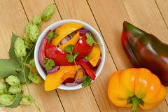 Roasted red and yellow bell pepper with purple onion Royalty Free Stock Photos