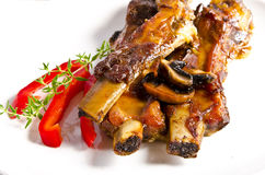 Roasted ribs burnt Royalty Free Stock Image