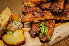 Roasted ribs close-up stock image