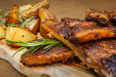Roasted ribs with herbs Royalty Free Stock Images
