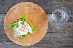 Roasted Roll with romaine lettuce and lardo pork belly Stock Photo