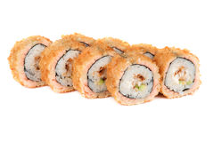 Roasted roll with smoked eel and salmon fish Stock Photo