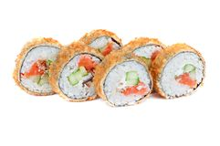 Roasted roll with smoked eel and salmon fish Royalty Free Stock Photos