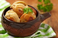 Roasted russian pelmeni Stock Image