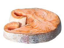 Roasted salmon. Piece of roasted salmon on white background Royalty Free Stock Photos